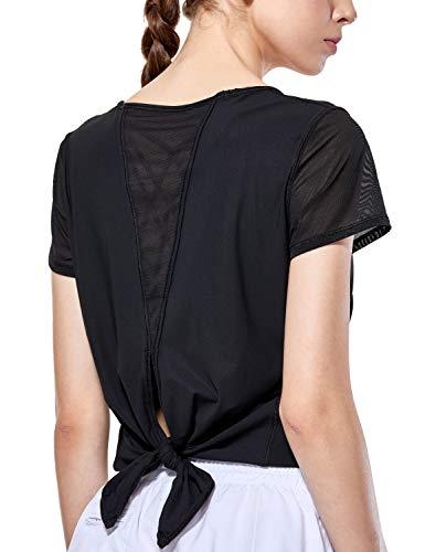 Short Sleeve Mesh Back Tee (CRZ YOGA Women's Yoga Workout Mesh Shirts Activewear Sexy Open Back Sports Shirt Tops Schwarz XS(36))