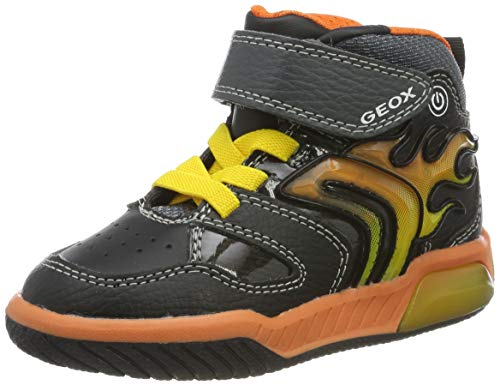 Geox Jungen J INEK Boy C Sneaker, Black/Orange, 31 EU