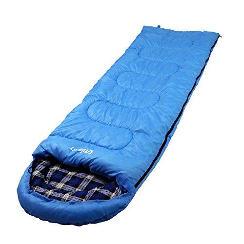 Unibest Deckenschlafsack mit Kopfteil NS70 Baumwolle Reißverschluss rechts - blau