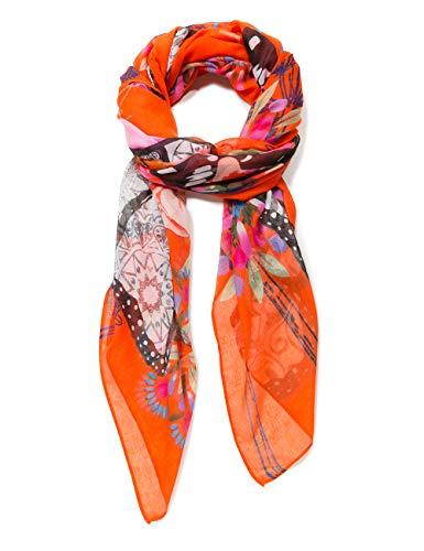 Desigual Damen Rectangle Foulard MENSAJE Woman Schal, Orange (Sunset 7026), One Size (Herstellergröße: U)
