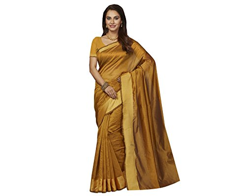Ishin Poly Silk Gold Party Wear Wedding Wear casual Daily Wear Festive Wear Bollywood New Collection Woven with Zari Border Latest Design Trendy Women's Saree/Sari  available at amazon for Rs.399
