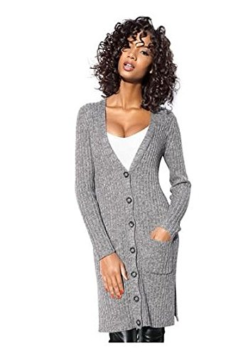 Class International Damen Long Strickjacke Strickmantel Cardigan (38, Grau)