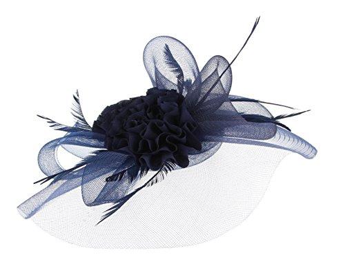 GEMVIE Chapeau Bibi Voile Femme Mariage Fleur Pince à Cheveux Bleu Marine