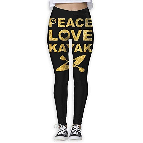 Deglogse Pantaloni da Yoga, Leggings da Allenamento,Peace Love Kayak Women's Stretchable Sports Running Yoga Workout Leggings Pants