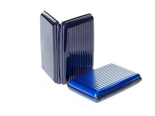 editkartenetui aus Aluminium - für Damen und Herren - blockiert RFID - für Kreditkarten Personalausweis EC-Karten - Kartenetui Kartenhülle Karten Portemonnaie Etuis - schwarz & blau ()