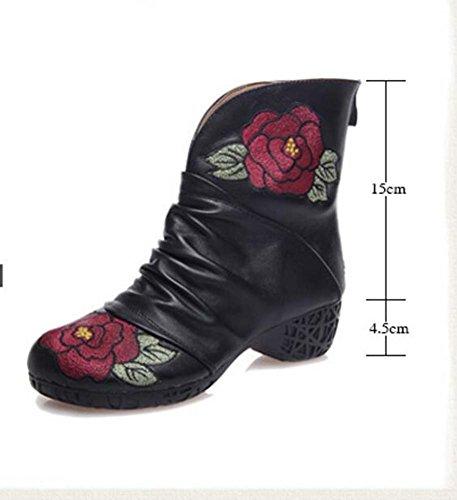 Bootie della caviglia 4.5cm Chunkly Tacco Round Toe Ricamati Cotone Scarpe Autunno E Inverno Nuove donne retrò zip National Wind Martin Stivali Eu Taglia 35-39 Black