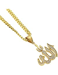 Jewels Exotic Allah Pendant 0.53 CT White CZ 925 Sterling Silver 14K Yellow Gold Finish