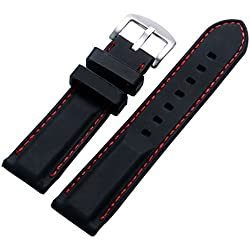 YISUYA Black 22mm Rubber Silicon Silicone Stainless Steel Pin Buckle Waterproof 2.2cm Watch Strap Band Red Rope for Watches