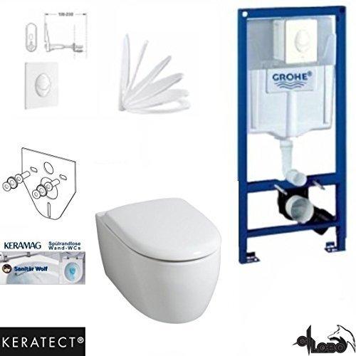 Preisvergleich Produktbild Grohe Vorwandelement mit Drückerplatte, Keramag 4 U, rimfree, Spülrandlos, Wand WC, WC Sitz , Keratect Beschichtung