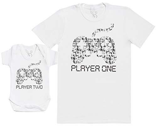 Player One & Player Two - Regalo para Padres y bebés en un Cuerpo par