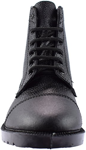 Grafters Mens 6 Eyelet Leather Cadet Boots Black