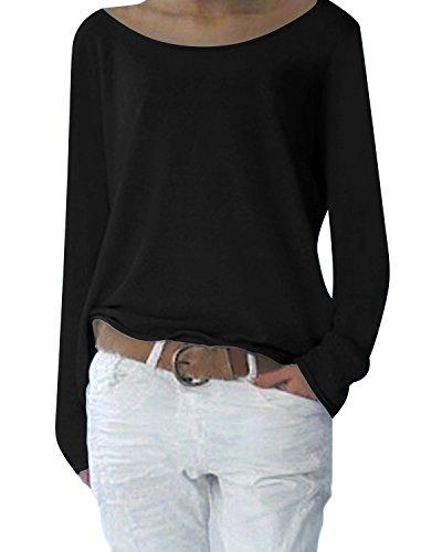 Yidarton Damen Langarm T-Shirt Rundhals Ausschnitt Lose Bluse Hemd Pullover Oversize Sweatshirt Oberteil Tops (S, Schwarz)
