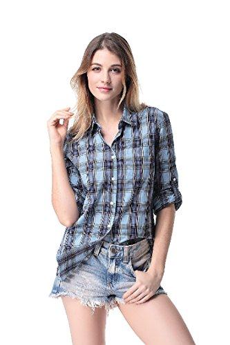 Pau1Hami1ton G-03 Camicia Quadri Donna Manica Lunga Blusa Casual Elegante Cotone 7