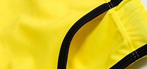 KUWOMINI.Men Taschen Badehose Anbindehaltung Niedrige Taille Heiße Quellen Strand Badehose Yellow