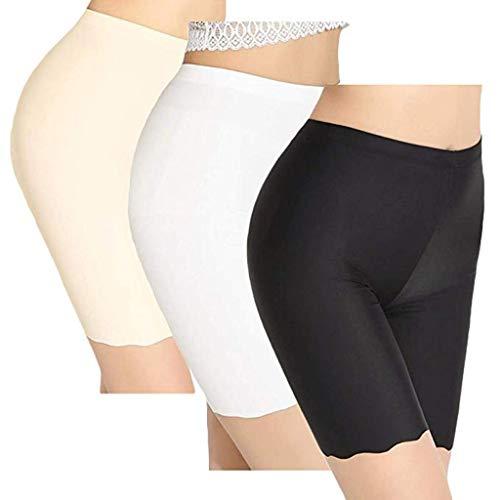 YiYLunneo Leggings Hose Damen Ice Silk Höschen Einfache Praktische Sicherheitshosen Einfarbiger Boxer Hosen (Ein Schwarz + Ein Weiß + Ein Khaki) - Weiße Twill-capris