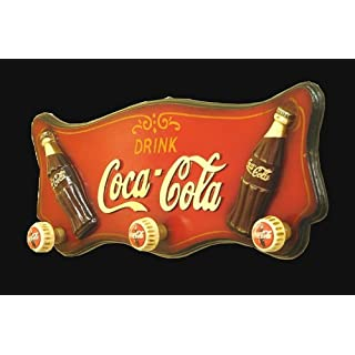 Antike Fundgrube Garderobe Wandgarderobe Garderobenhaken Coca Cola im Retro-Stil 24 x 60 cm (1869)