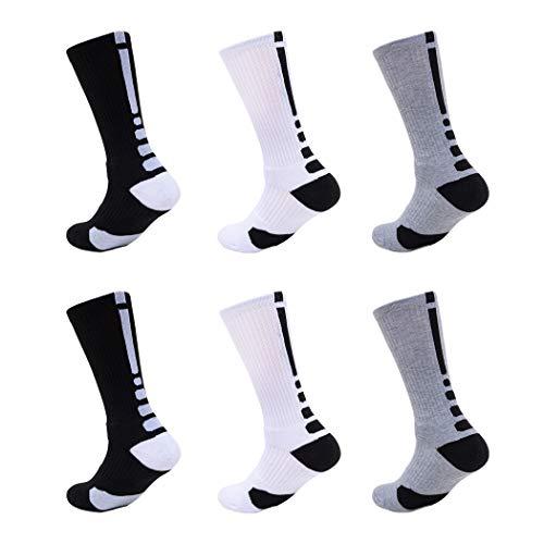 Calcetines Deportivos Algodón Antideslizante Transpirable Sock Medio Compresión Desodorante Engrosamiento Deporte Aire Libre Fútbol Running Baloncesto Correr Ciclismo Outdoor Hombre 5/6 Pares(6 Pares)