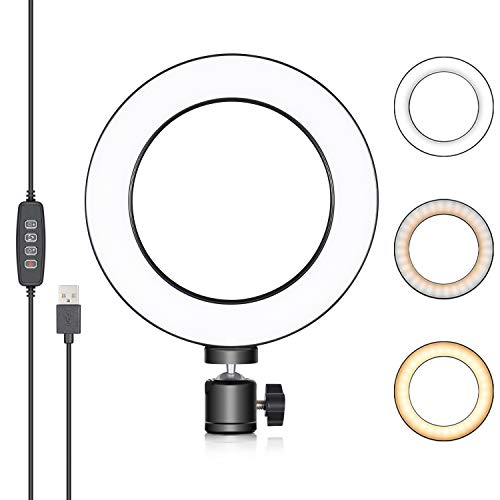 Neewer LED Ringlicht 6 Zoll für YouTube Video,Livestreaming,Makeup,Desktop Mini USB Kamera LED Licht mit 3 Lichtmodi und 11 Helligkeitsstufen Led Ring Flash