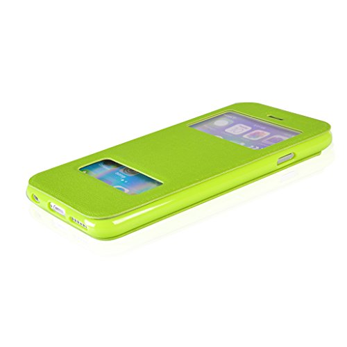 UKDANDANWEI Bookstyle Leder Tasche Flip Case Cover Schutzhülle Etui Hülle Schale mit Fenster Ansicht Für iPhone 6 Plus (5.5 Zoll) Gelb Grün
