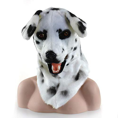 Beweglicher Mund Kunstpelz Erwachsene Kostüm Maske-Mover Mover Dalmation Maske (Color : White, Size : 25 * 25) ()
