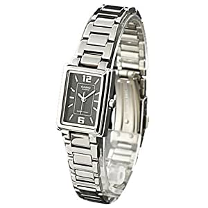 Casio Women's Core LTP1238D-1A Silver Stainless-Steel Quartz Watch with Black Dial