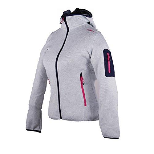 Fleecejacke Sondermodell Kiara Strickfleece Outdoor Jacke CMP für Damen mit Fleece-Innenausstattung und weicher Kapuze- Gr. 48, Metal-Navy-schwarz