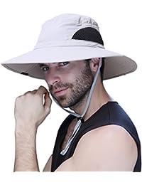 1dbdef97ae141 Mens Sun Hat Summer Unisex Sun UV Protection Bucket Hat Outdoor Waterproof  Wide Brim Hat with