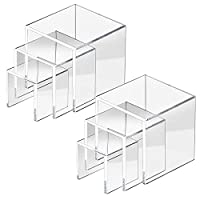 HBselect 6Pcs Clear Acrylic Display Stand, Jewelry Display Riser Showcase Fixtures (Small, Medium, Large, 2pcs Each Size)