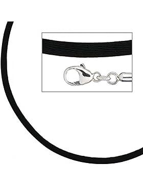 Seidencollier 925/-S schwarz schwarze Seidenkette Seidenband Seidenkordel 42 cm
