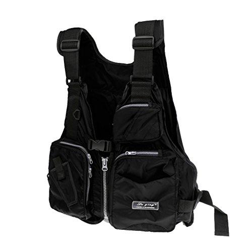 MagiDeal Unisex Anglerweste Jägerweste Weste Jacken mit Taschen für Sport Angeln Schwarz 3