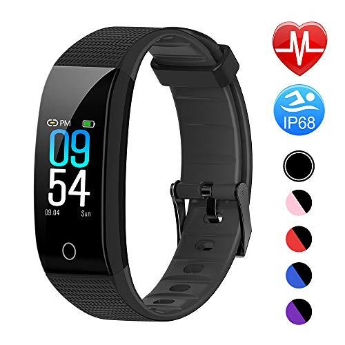 and mit Pulsmesser Blutdruckmesser, Fitness Tracker Smartwatch Wasserdicht IP68 Aktivitätstracker Schrittzähler Uhr Damen Herren Farbbildschirm SMS für iPhone Android Handy ()