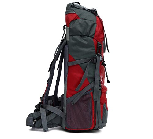 Outdoor Profi-Bergsteigen Rucksack 65 + 5 L Großer Kapazitäts-Wander-Abenteuer Multifunktions-Rucksack,Red Red
