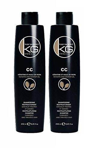 KERAGOLD PRO Shampoing CC à Kératine/Huile de Ricin 250 ml - Lot de 2