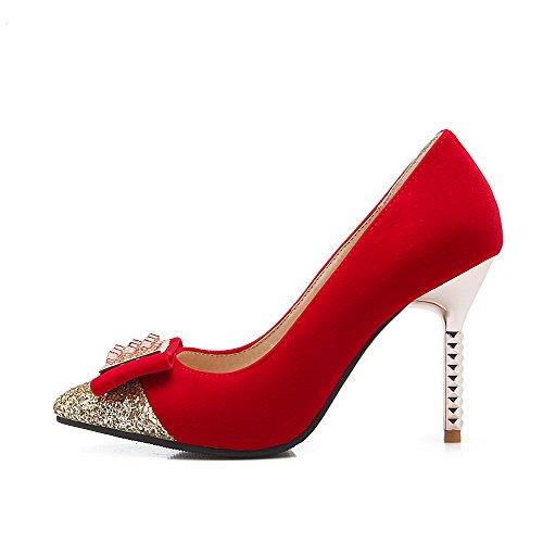 Damen Hoher Blend-Materialien Rein Ziehen auf Spitz Zehe Pumps Schuhe, Grau, 42 VogueZone009