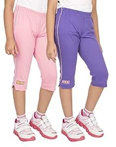OCEAN RACE Girls Cotton Capris Pack of 2 (Pink-Purple-OCR-C-15157-2-3YRS)