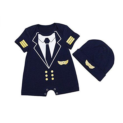 ALLAIBB Baby Boy Strampler Pilot Uniform Kostüm Cosplay Outfits mit Cap Size 66 (Black) - Pilot Uniform