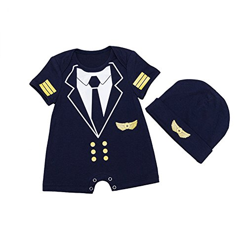ALLAIBB Baby Boy Strampler Pilot Uniform Kostüm Cosplay Outfits mit Cap Size 80 (Black) (Baby Boy Kostüm Pilot)