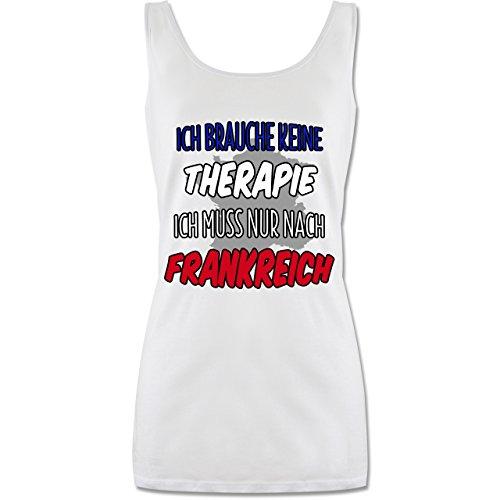Shirtracer Länder - Ich Brauche Keine Therapie Ich muss Nur Nach Frankreich - Lang-Geschnittenes Tanktop für Damen Weiß