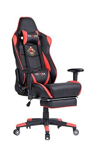 Ficmax Groß Bürostuhl Gaming Stuhl Chefsessel mit Massage Lendenwirbelstütze, inklusiv Verstellbare Kopfkissen und Fußstütze, rot / schwarz (Roten Teppich Zurück)