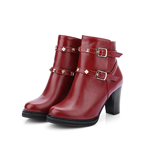 AgooLar Damen Rund Zehe Hoher Absatz Weiches Material Niedrig-Spitze Eingelegt Stiefel Rot