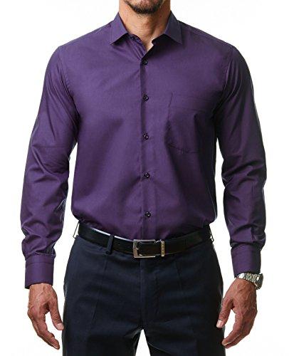 Alessandro Tonelli Herren Klassik Hemd Business Bügelleicht Freizeit Hochzeit Feier Basic Regular Fit Shirt U03-063, Farbe:Lila, Größe:40/M