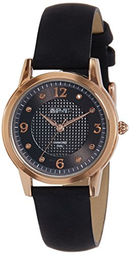August Steiner Women's AS8198BKR Rose Gold Quartz Watch with Black Dial and Black Suede Leather Strap