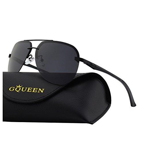 GQUEEN Klassische Federscharnieren Al-Mg Rahmenlose Rahmen Pilotenbrille Polarisierte Sonnenbrille MOF3