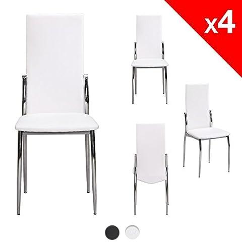 KAYELLES Chaises Salle a manger Lot de 4 EXOS Chaises Moderne Simili Cuir Salon Cuisine (Blanc / Chrome)