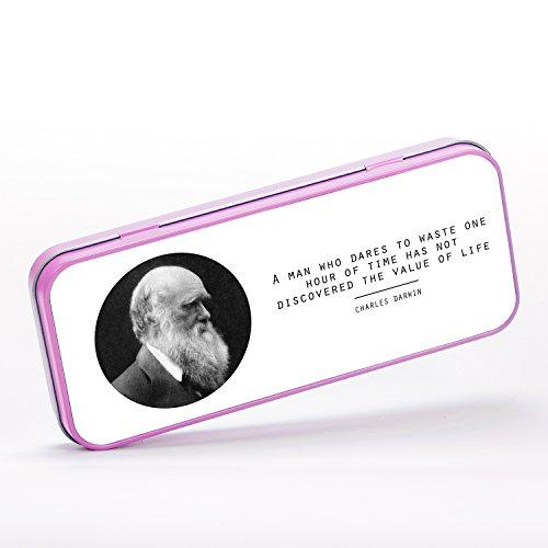 Value of Life Charles Darwin Quote Origin of Species Evolution Atheist Schreibwaren-Metalldose - pink