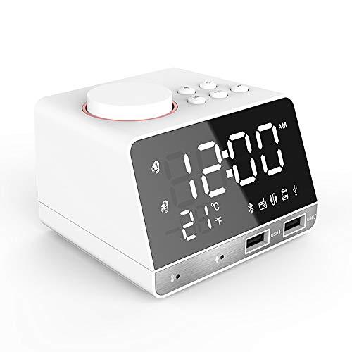 LGNB Nachtlichter Bluetooth-Lautsprecher mit Touch-Steuerung Nachttischlampe Wecker Eingebautes Mikrofon USB AUX MP3-Player für Kinder Party Schlafzimmer im Freien,White