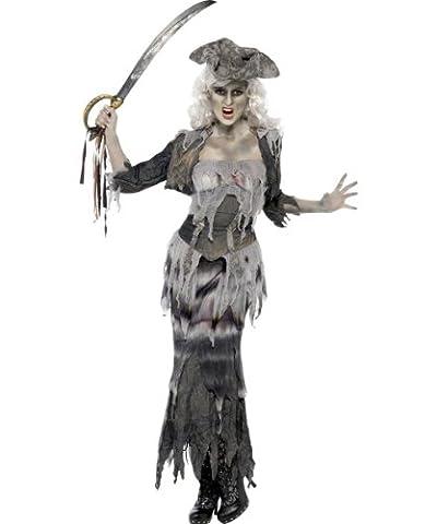 Zombie Geister Piratin Halloween Damenkostüm grau M (Graue Geist Kostüm)