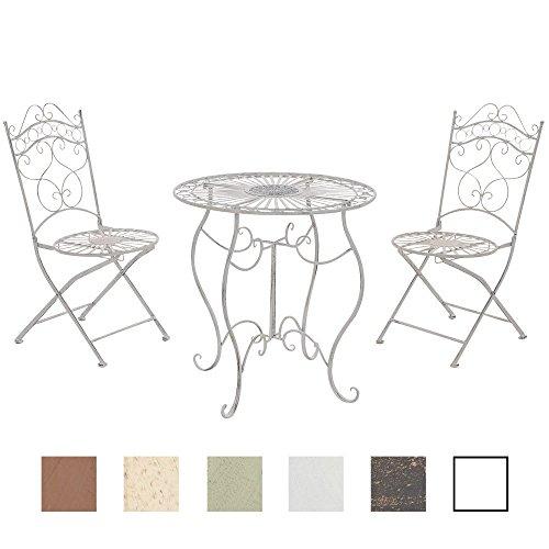 CLP Garten-Sitzgruppe INDRA, Metall (Eisen) lackiert, Design nostalgisch antik, Tisch rund Ø 70 cm + 2 x Klappstuhl antik-weiß