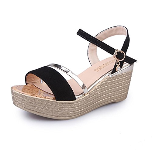 LHWY Damen Muffin Fish Head Women Sandalen Platform Sandalen Simple Shoes Black
