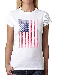 6f1aeba0ea0a7 avocadoWEAR Drapeau Americain Bannière Etoilée Crâne Femme T-Shirt ...